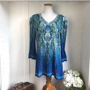 dressbarn Paisley print turquoise/ green  Boho Top